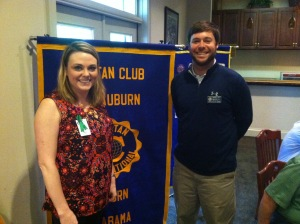 Sara Brown, speaker, and Barclay Bentley, Civitan member