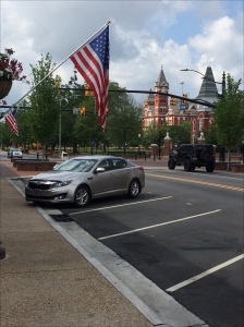 Flags flying in downtown Auburn, AL.